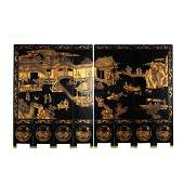 Chinese Carved and Lacquered Eight Panel Floor Screen