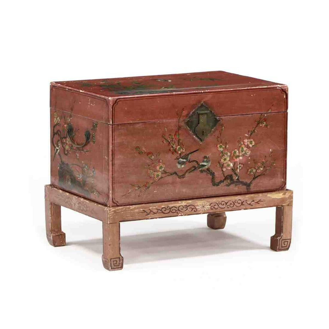 Antique Chinese Painted Pigskin Trunk On Stand