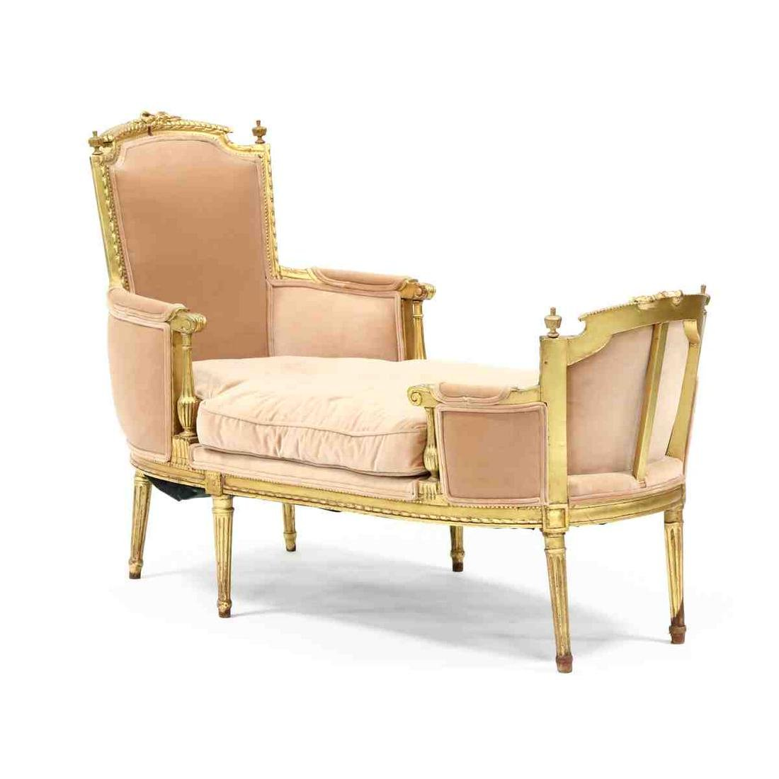 Louis XVI Style Carved and Gilt Chaise Lounge