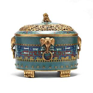 A Chinese Cloisonne Censer with Cover