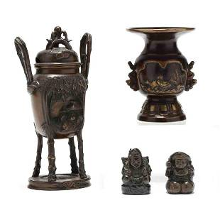 A Group of Japanese Bronze Decorative Items