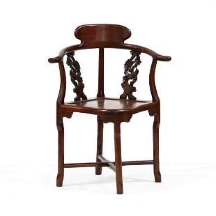 Chinese Carved Hardwood Corner Chair