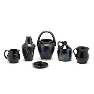 Six Pieces of NC Mirror Black Pottery