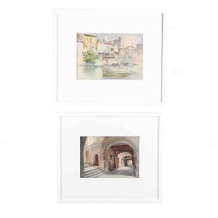 Emmanuel Brun 20th century Two Original Watercolors