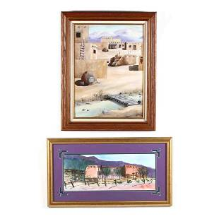 Two Contemporary Paintings of Pueblos