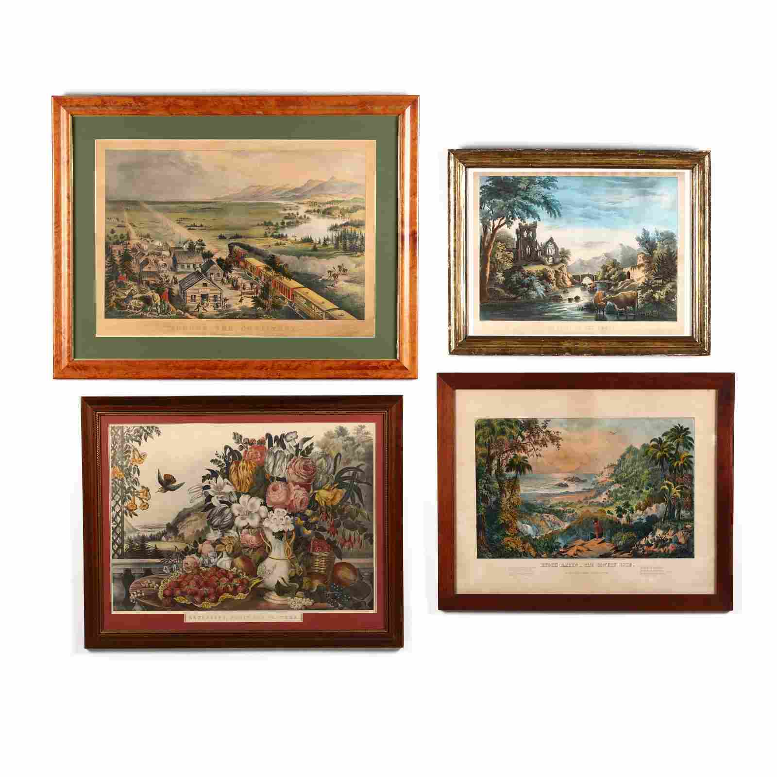 Four Large Currier & Ives Scenes