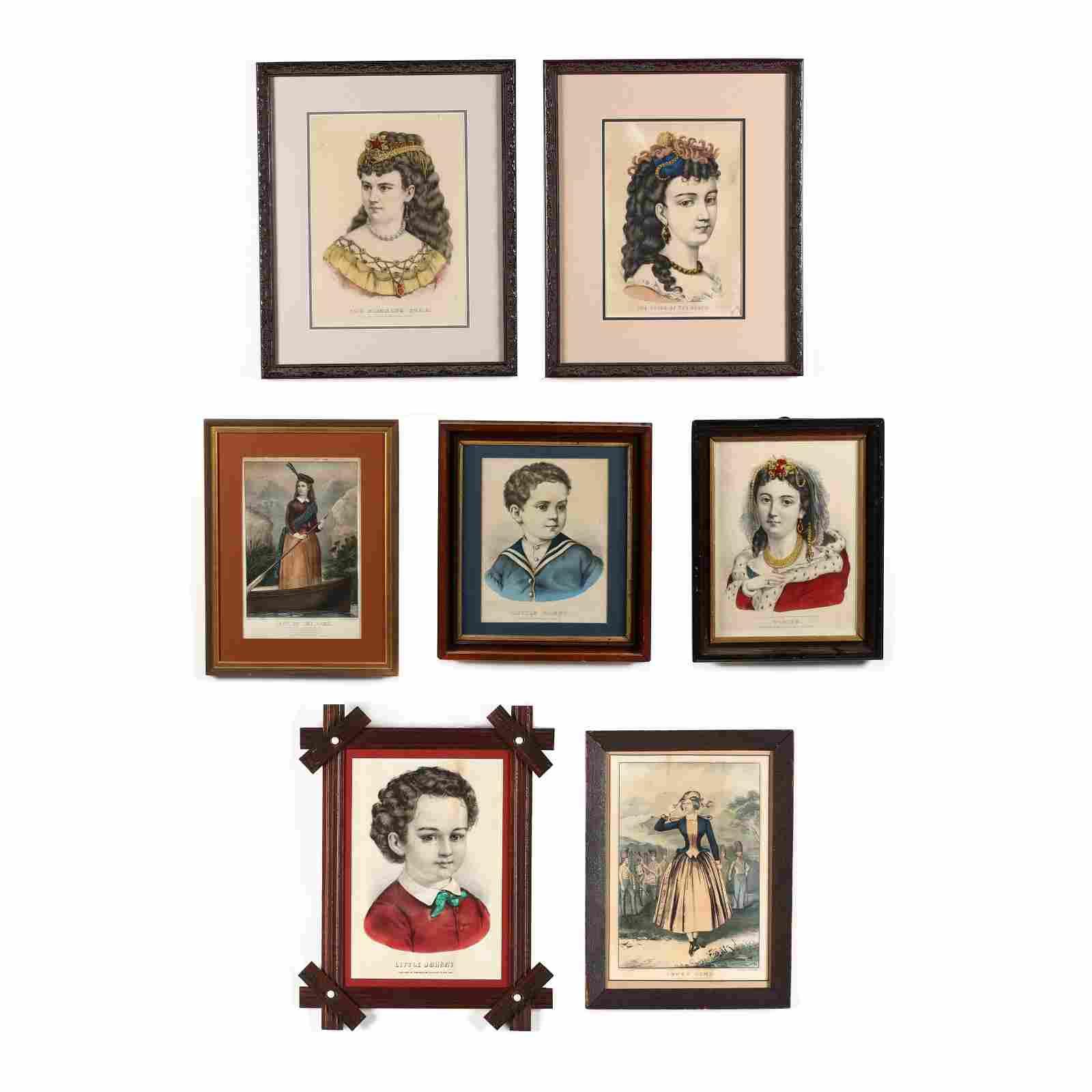 Seven Currier & Ives Figural Prints