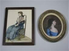 418: American School, Two Miniature Portraits,