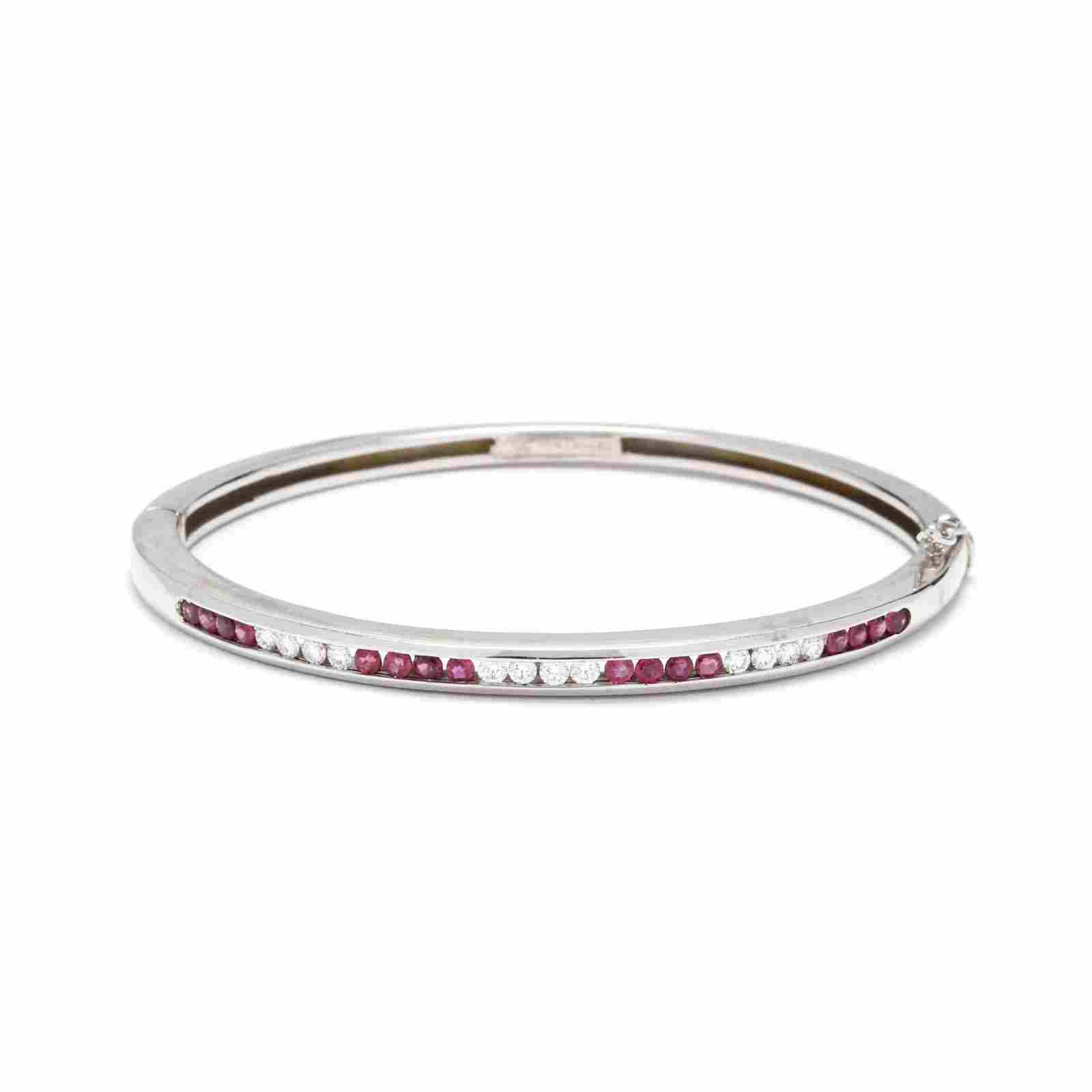 18KT White Gold, Ruby, and Diamond Bangle Bracelet,