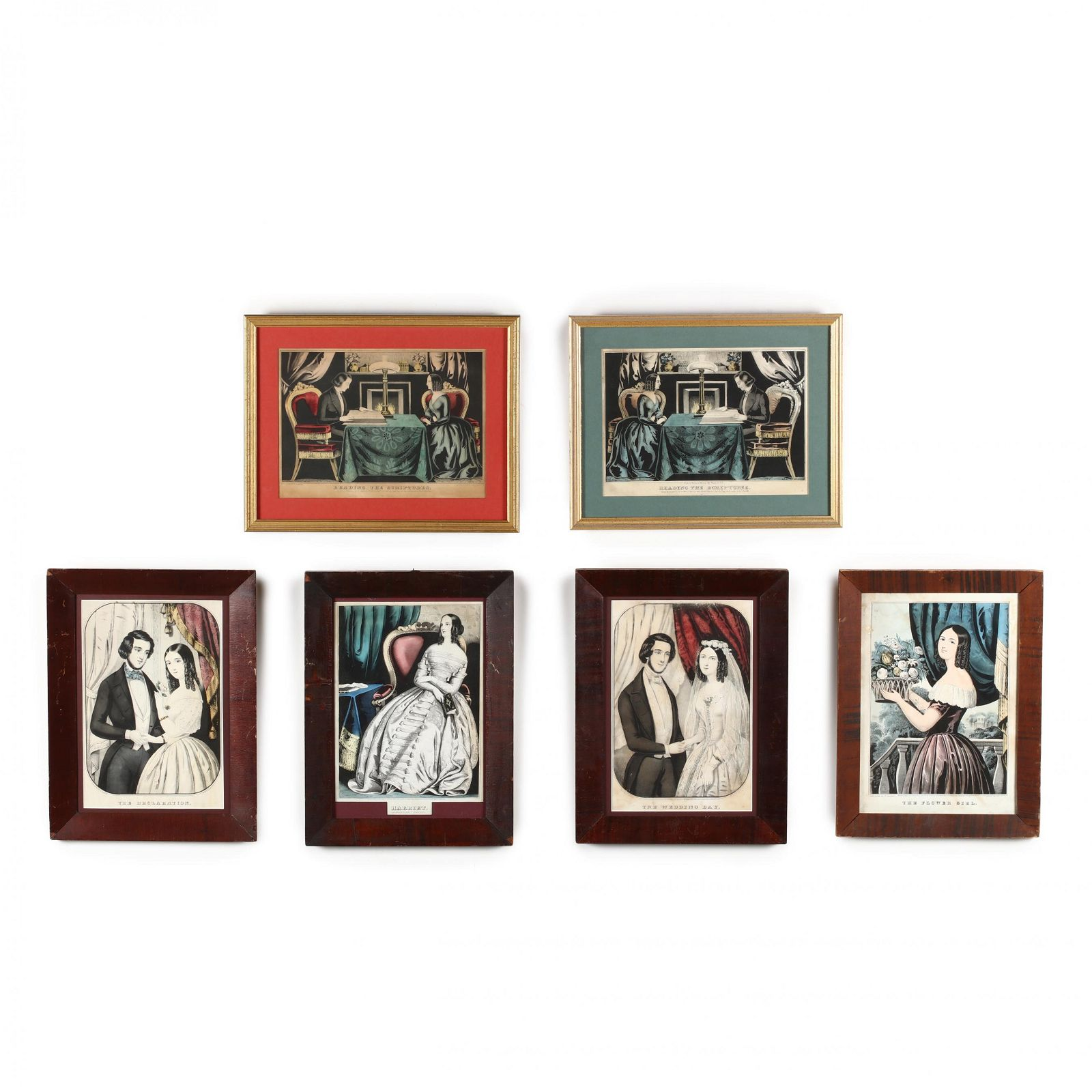 Six Figural Currier & Ives Prints
