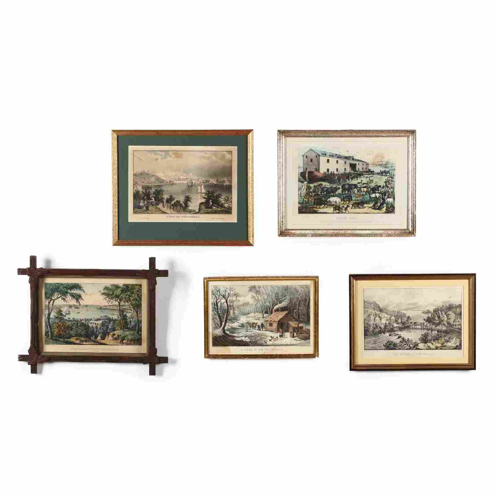 Five Landscape Currier & Ives Prints