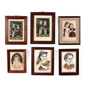 Six Currier & Ives Prints of Children