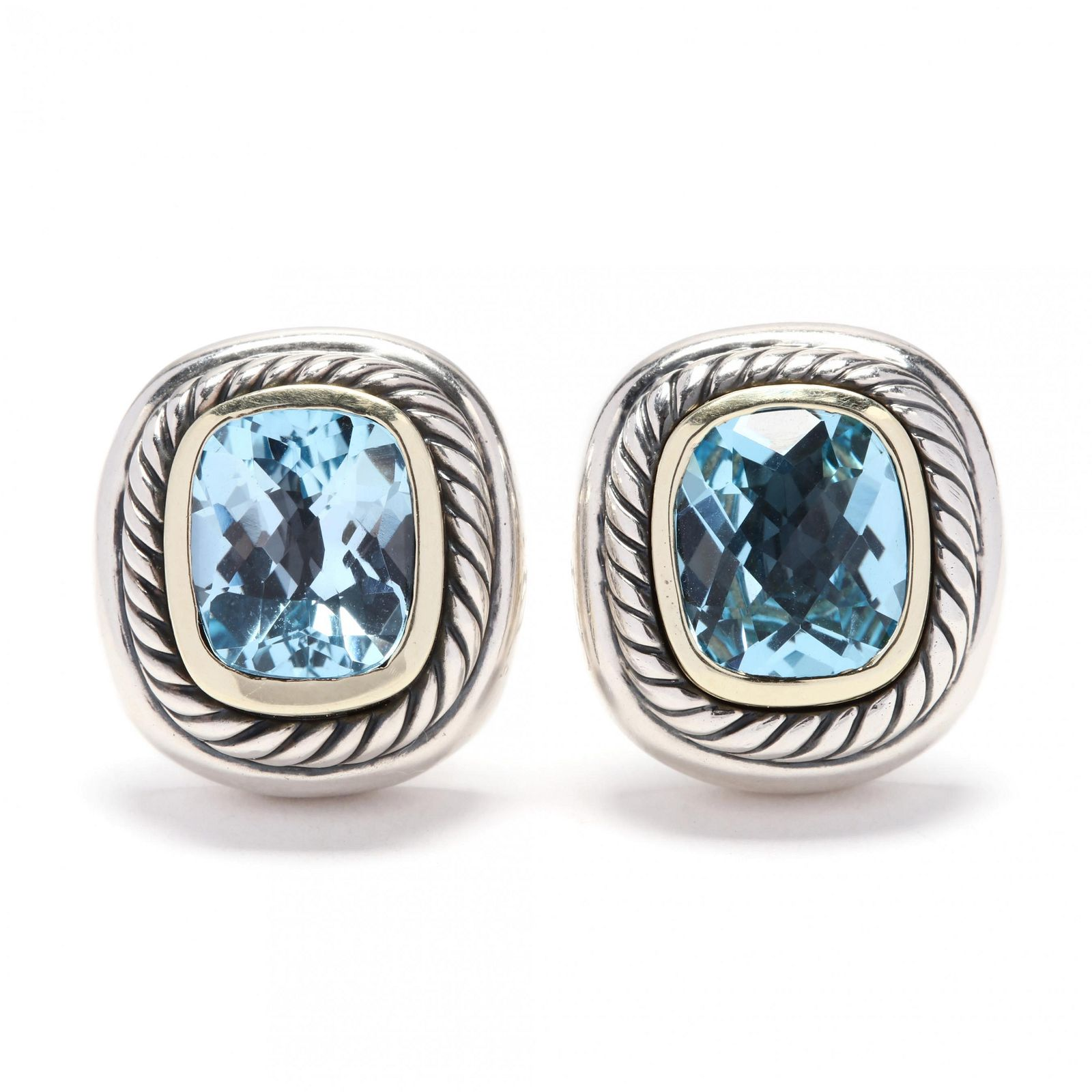 Sterling Silver, 14KT Gold, and Topza Earrings, David