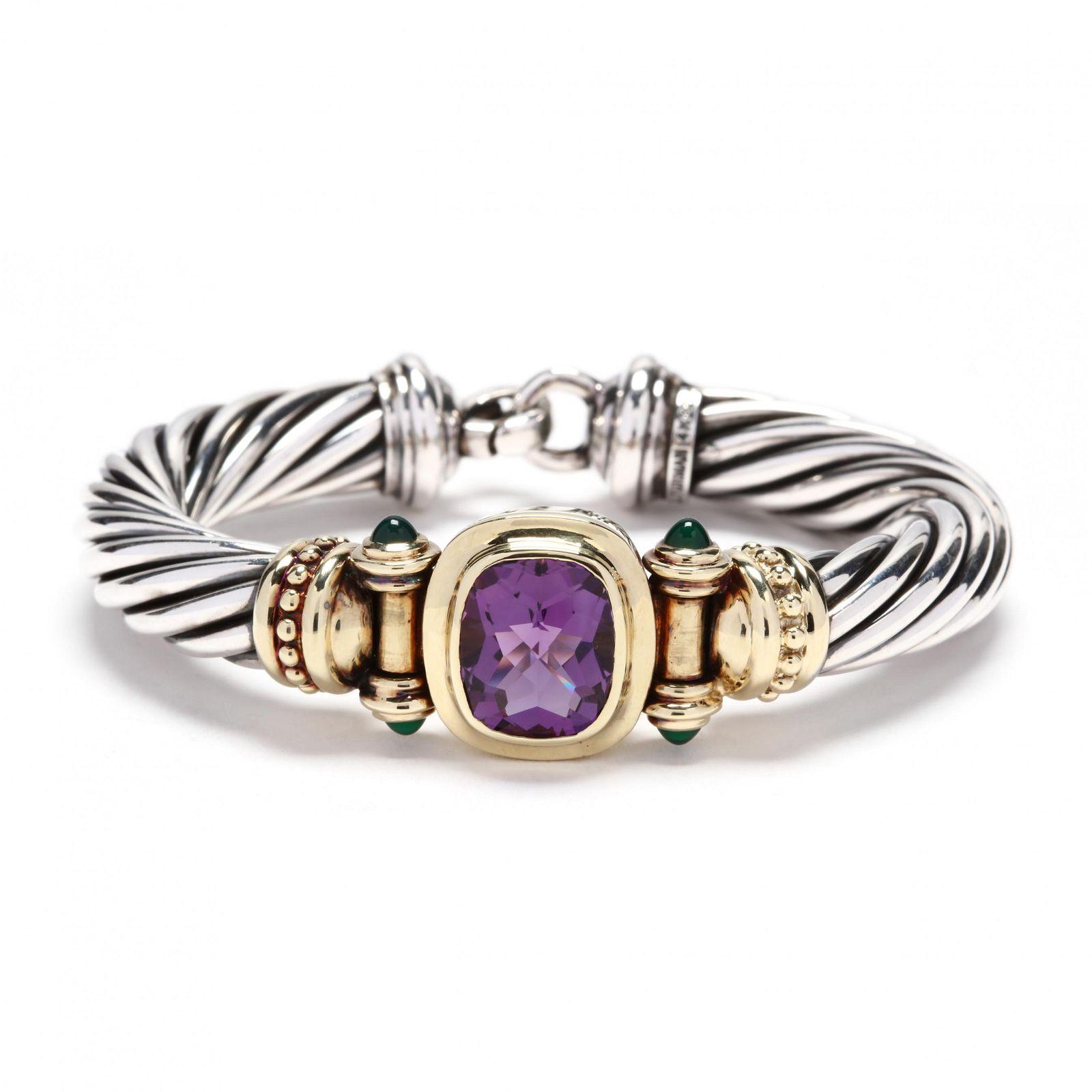 Sterling Silver, 14KT Gold, and Amethyst Bracelet,