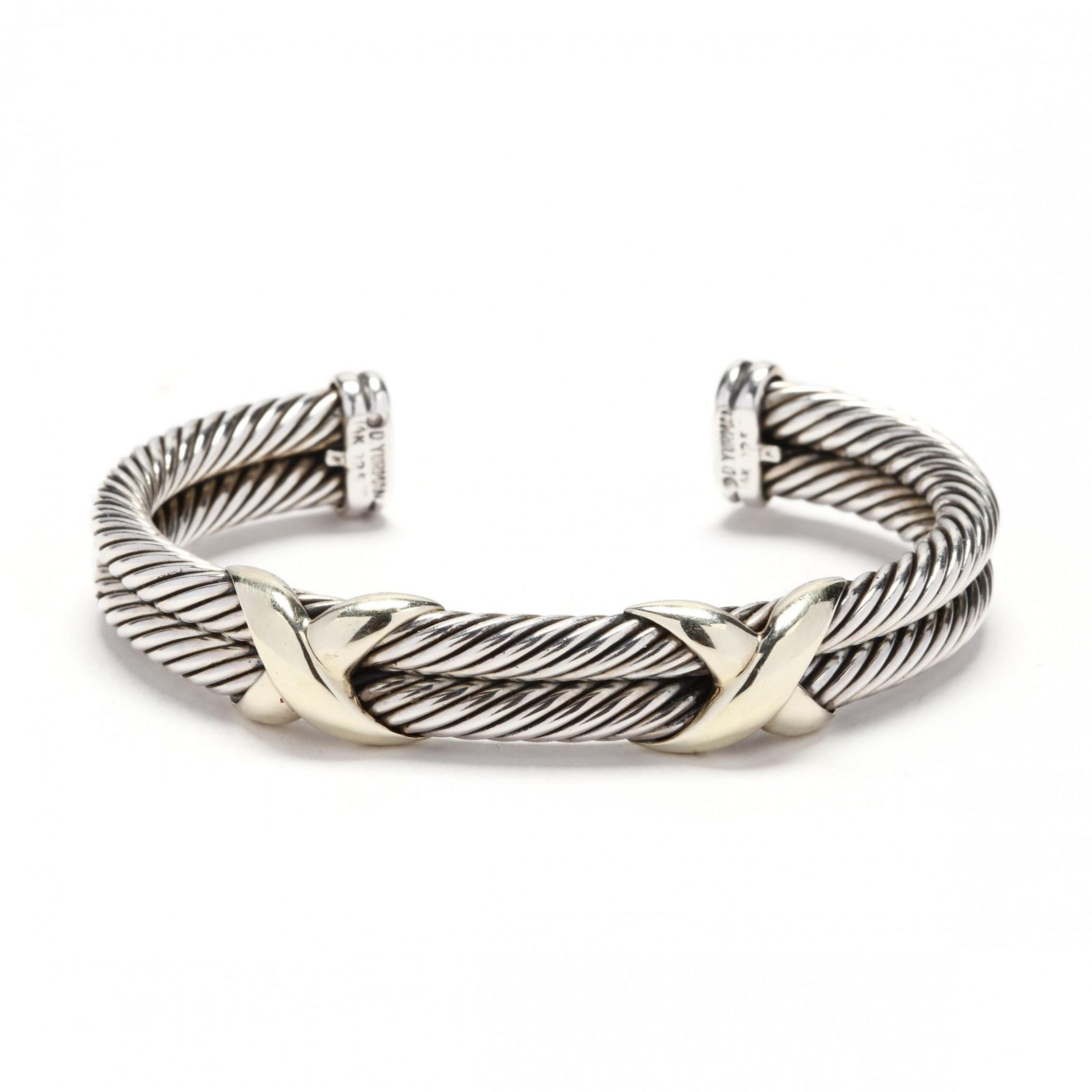 """Sterling Silver and 14KT Gold """"X"""" Cuff Bracelet, David"""