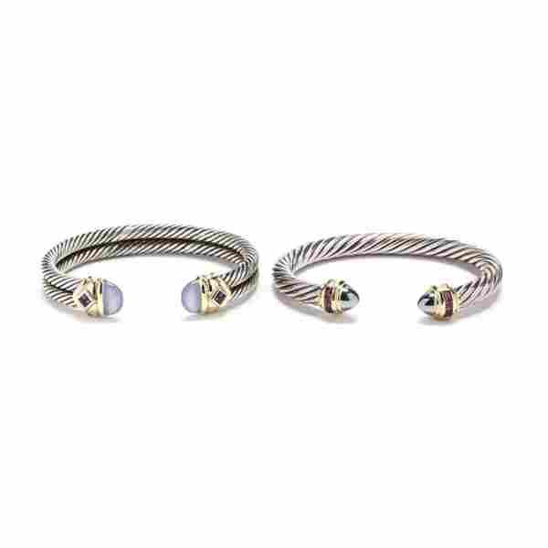 Two Sterling Silver and 14KT Gold Gem-Set Bracelets,