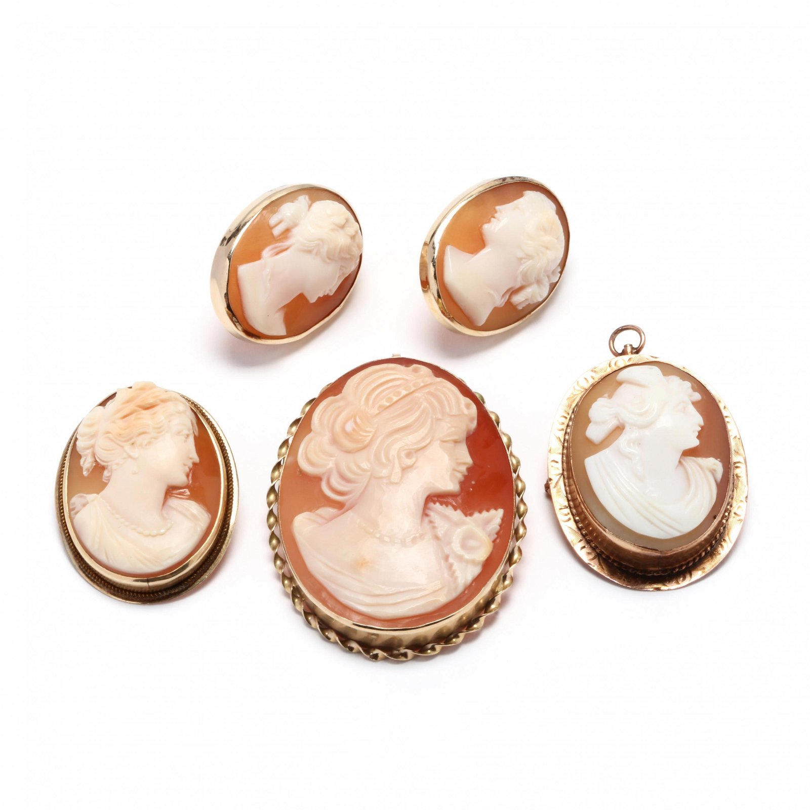 Collection of 14KT Gold and Carved Shell Cameos