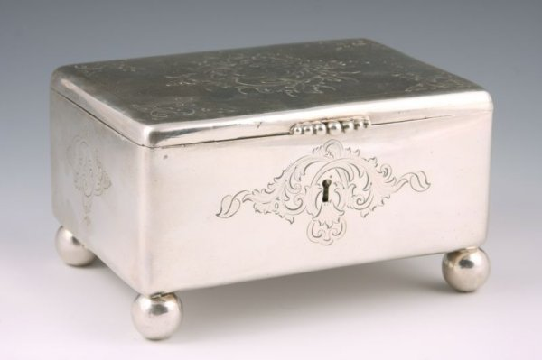1: Warsaw Silver Sugar Box with Russian Marks,