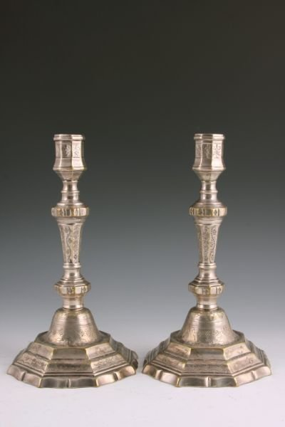20: Pair of Engraved Silver Candlesticks, French,