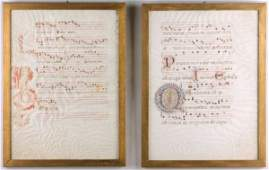 218 Two Illuminated Manuscript Music Leaves