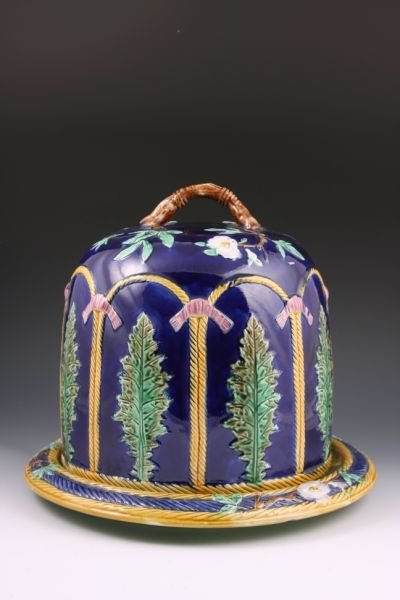 353: Victorian Majolica Cheese Keeper, Likely French,