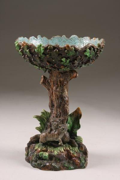 357: Victorian Majolica Centerpiece Compote,