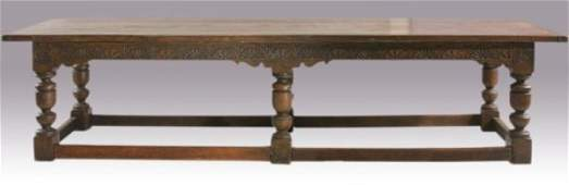423: Antique Jacobean Dining Table, English,