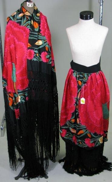 1002: Two Spanish Silk Shawls,