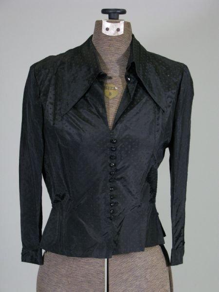 1010: Vintage Black Silk Taffeta Dress Shirt,