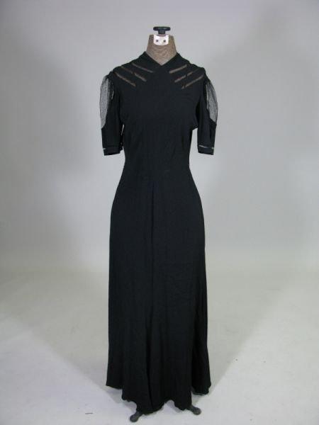 1011: 1920s Black Silk Dress,