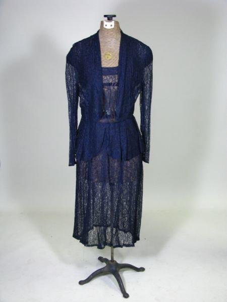 1012: Vintage Navy Lace Tea Dress,