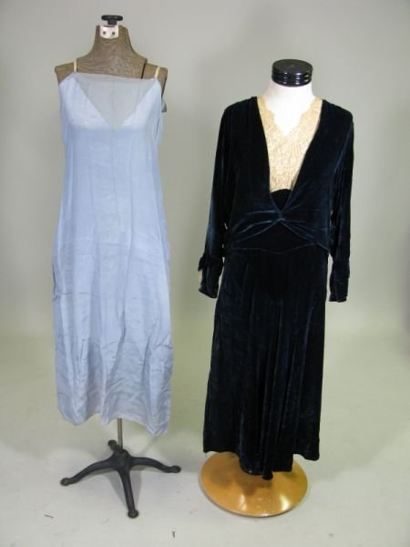 1013: Vintage Blue Velvet Dress with Chiffon Slip,
