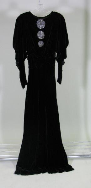 1014: 1930s Silk and Velvet Gown,