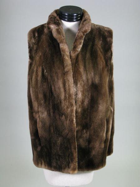 1019: Vintage Lady's Brown Sheared Beaver Fur Vest,