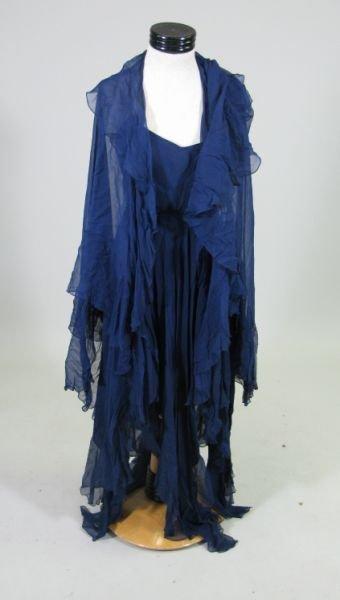 1090: Vintage Halston Navy Silk Chiffon Evening Gown,