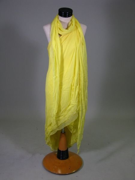 1091: Halston Grecian Goddess Silk Chiffon Evening Gown