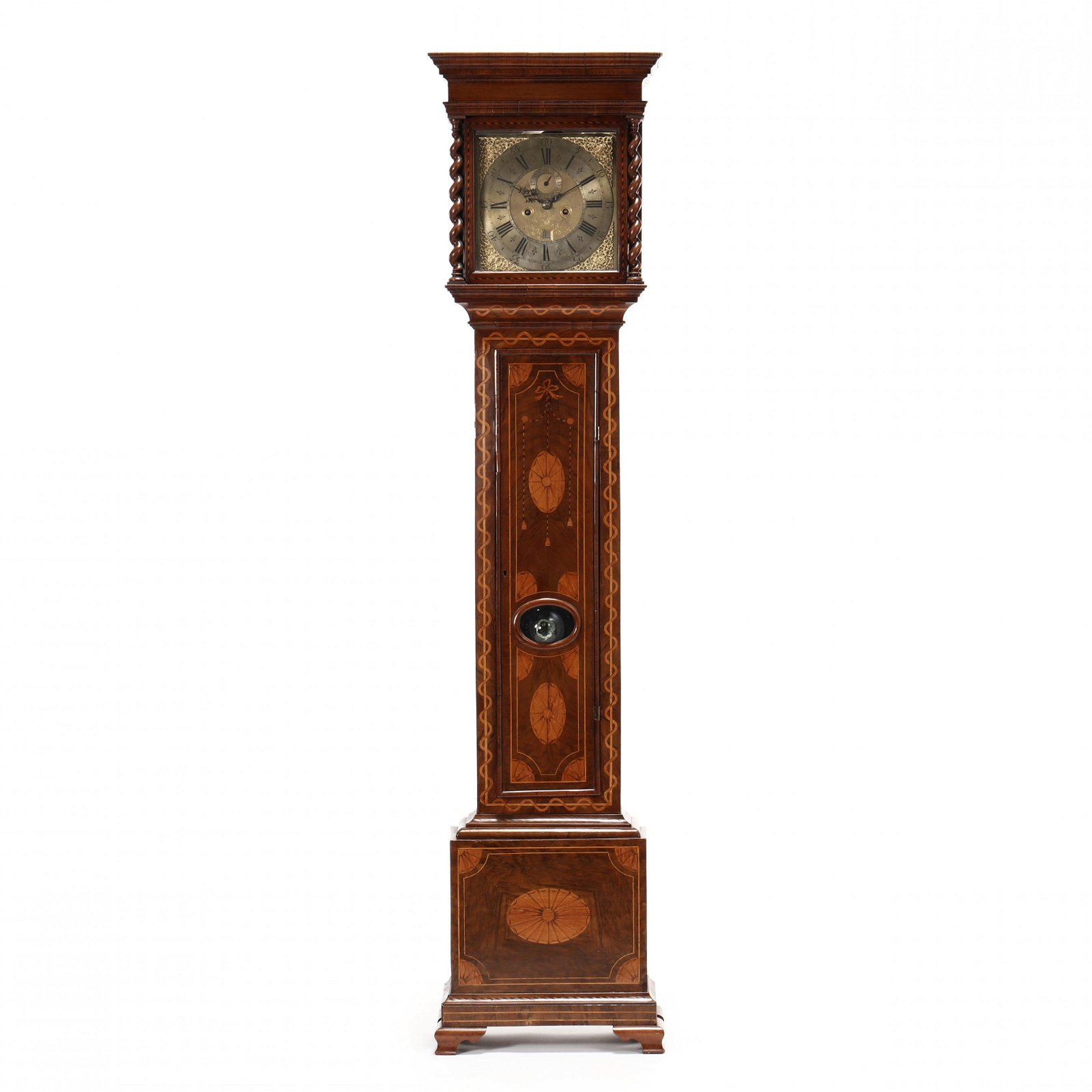 George III Marquetry Inlaid Mahogany Tall Case Clock