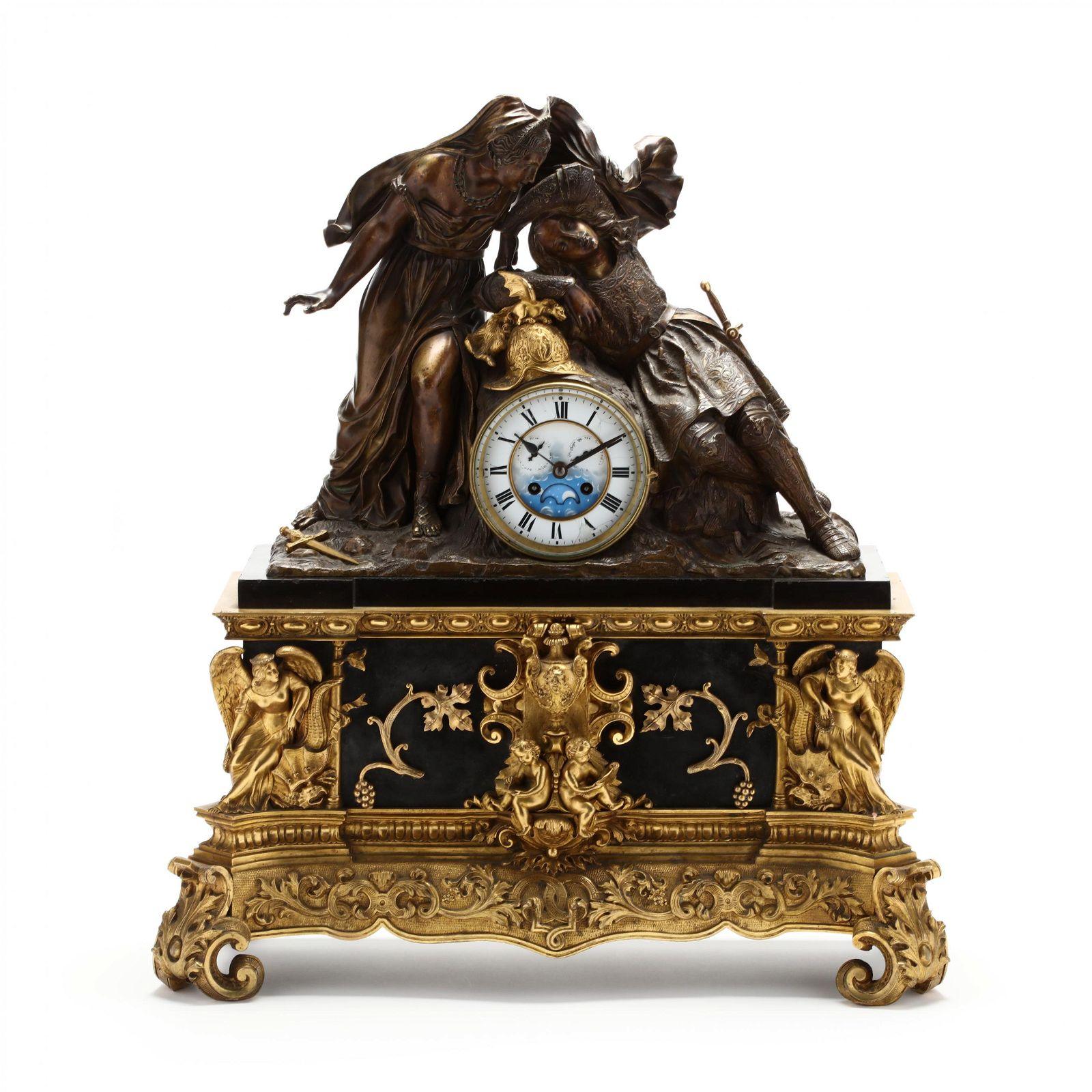 A Napoleon III Bronze & Black Marble Figural Mantel