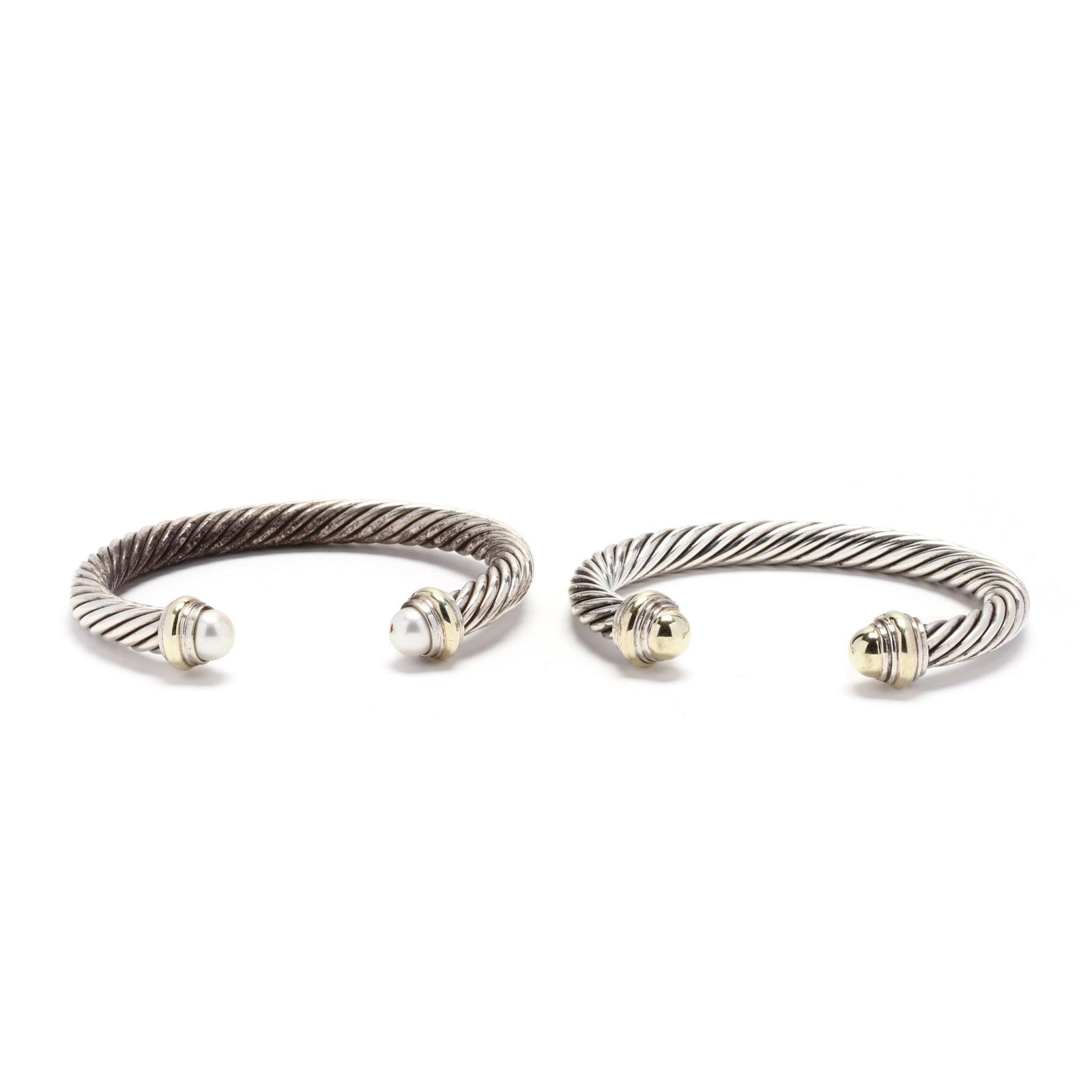 Two Sterling Silver and 14KT Gold Cuff Bracelets, David