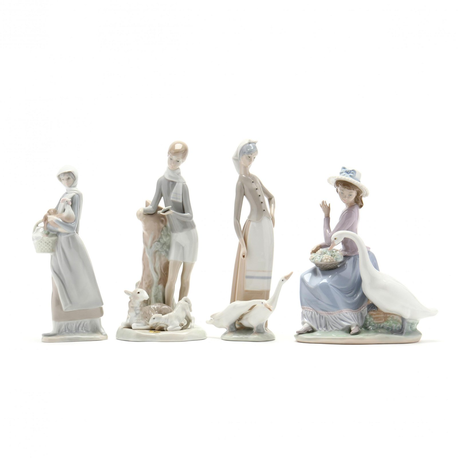 Four Lladro Porcelain Figures with Farm Animals