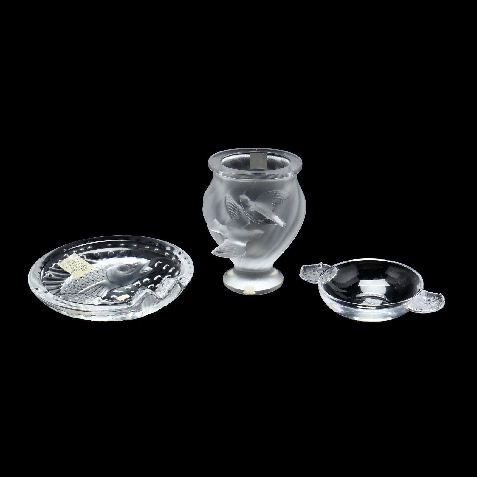 Three Pieces of Lalique Crystal