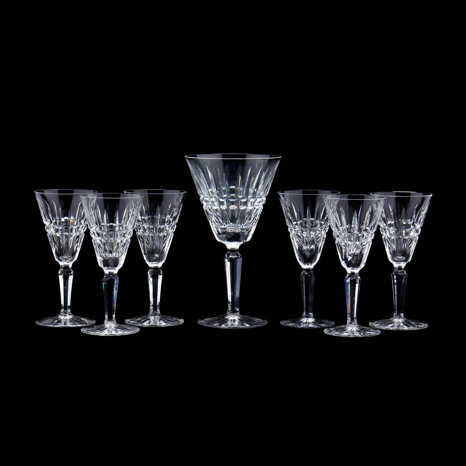 Seven Waterford Crystal Stems