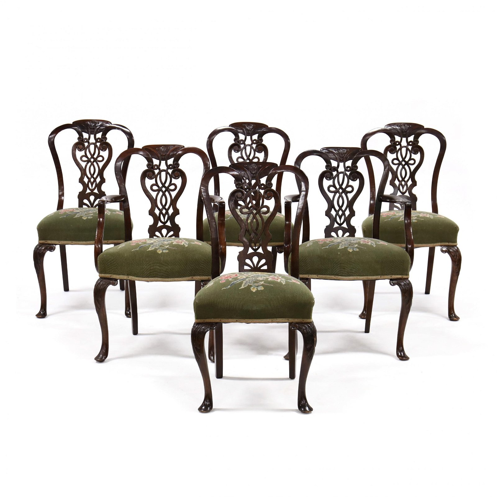 Set of Six Edwardian Carved Mahogany Dining Chairs