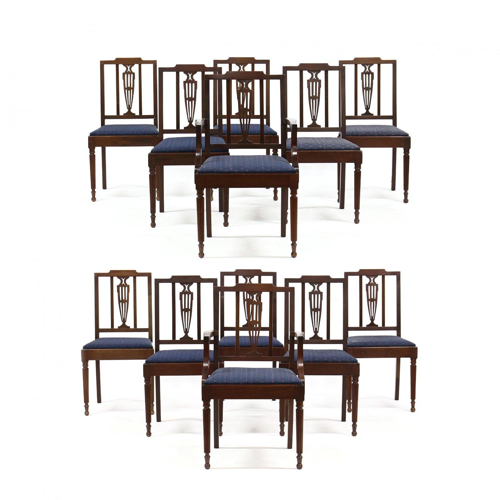Set of Twelve Sheraton Style Mahogany Dining Chairs