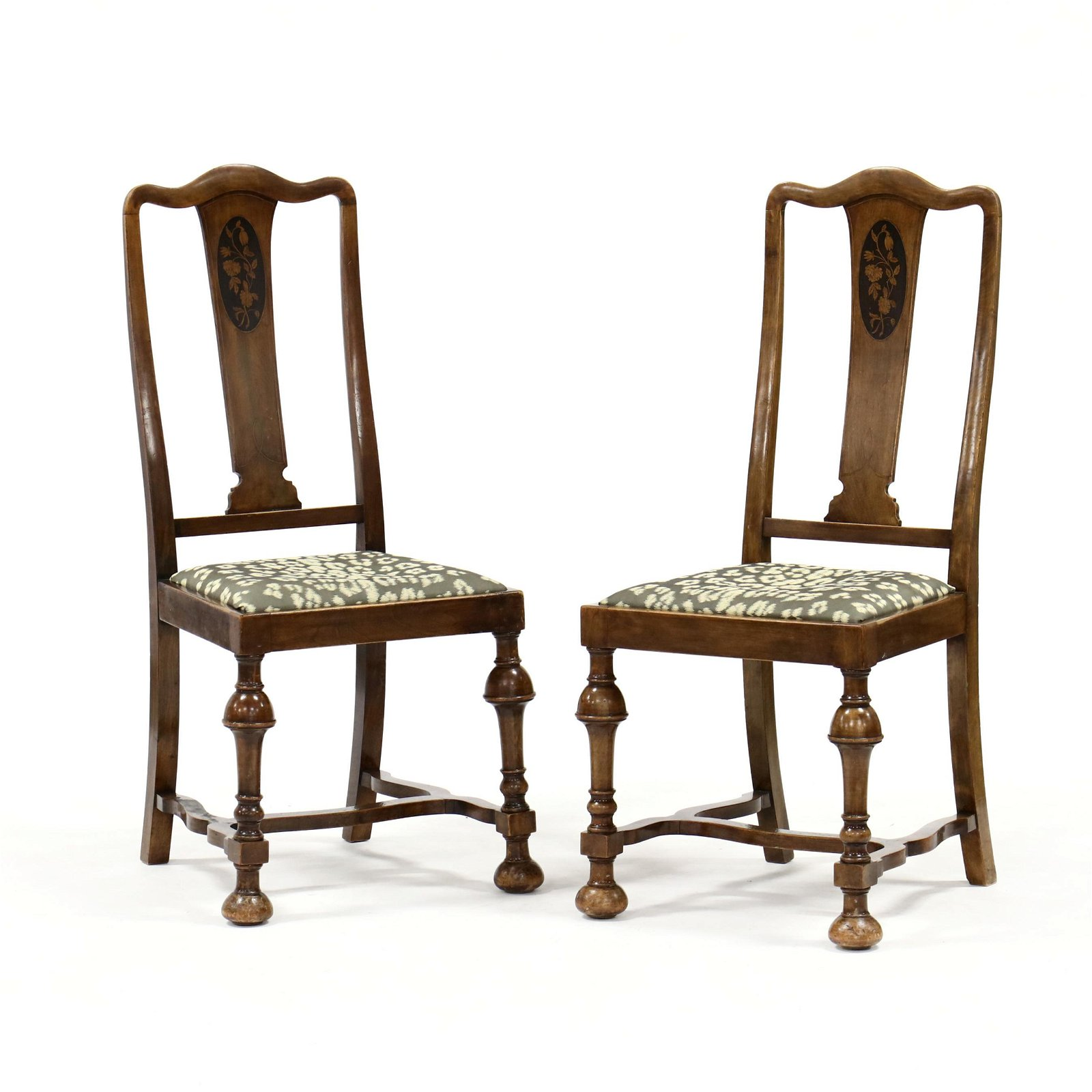 Pair of William and Mary Style Inlaid Chairs