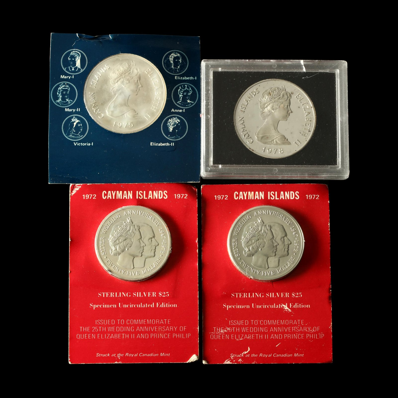 Four Cayman Islands Large Silver Commemorative Coins