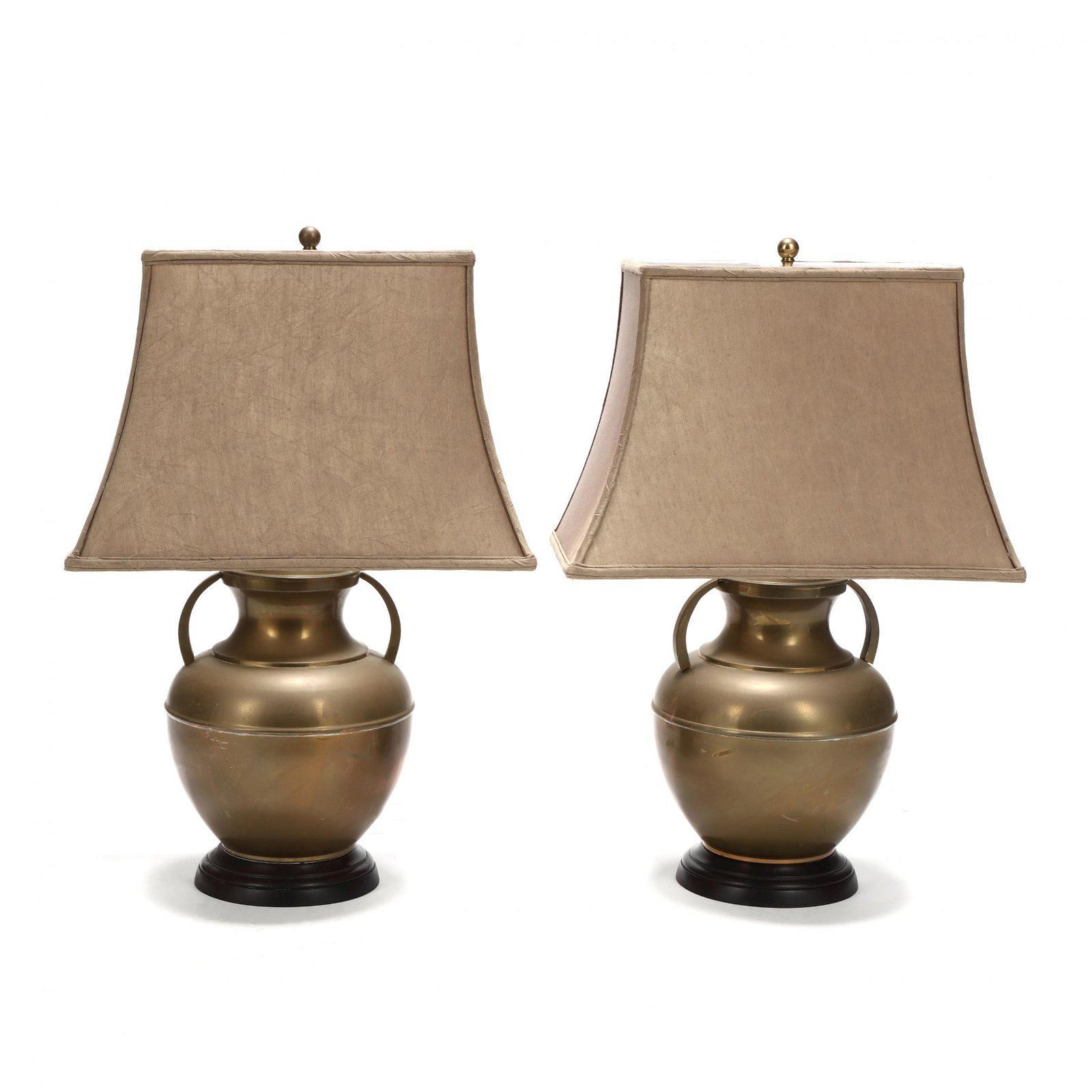 A Pair of Chinese Style Brass Urn Table Lamps