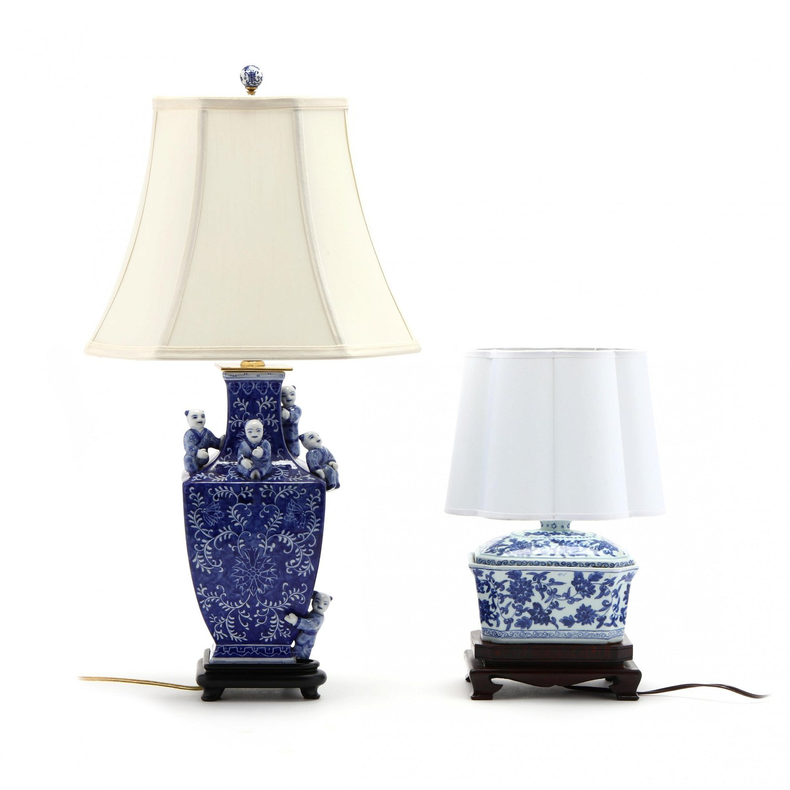 Two Chinese Blue and White Table Lamps