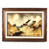 A Vintage Painting of a French Seaside Cottage