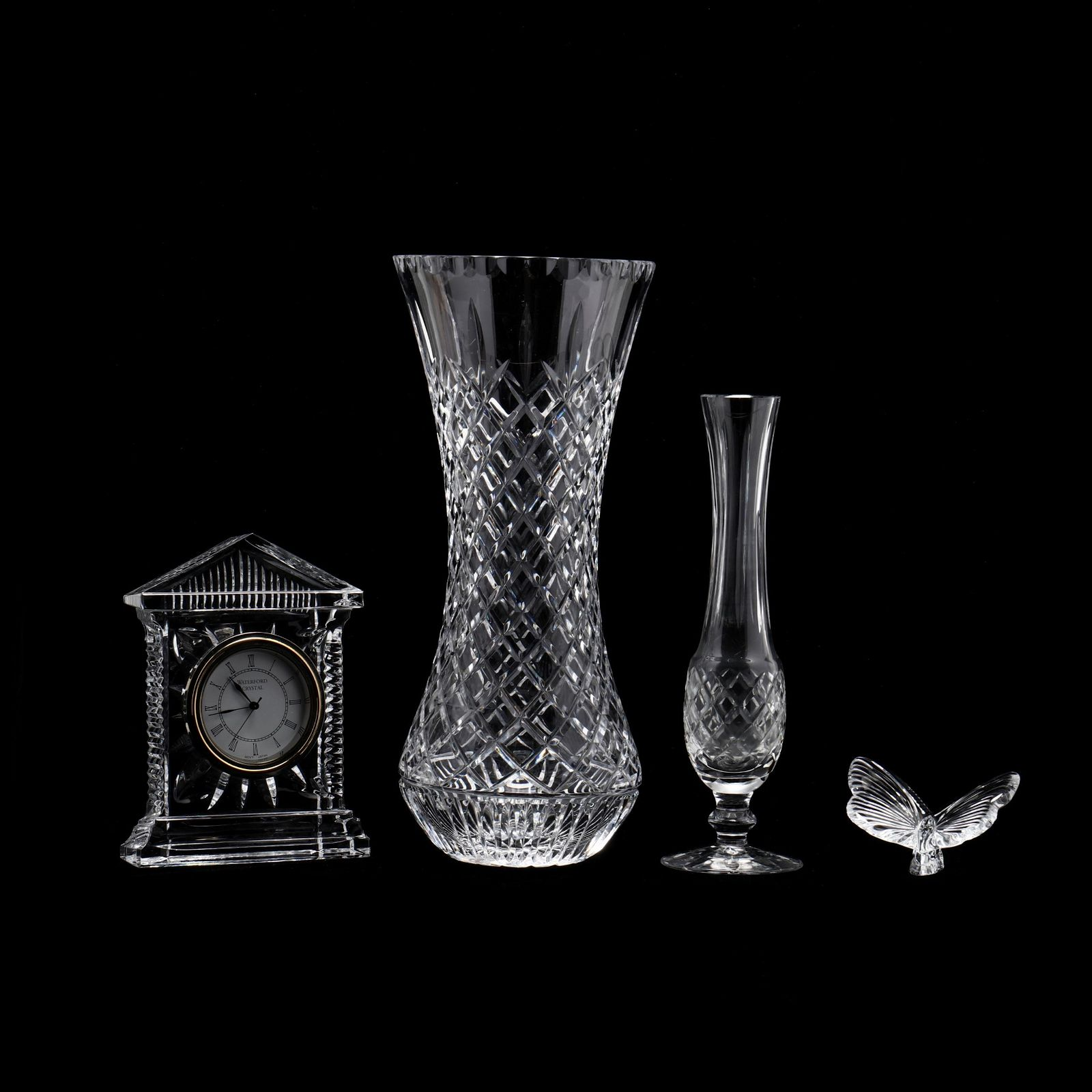 Three Waterford Accessories and Large Cut Crystal Vase